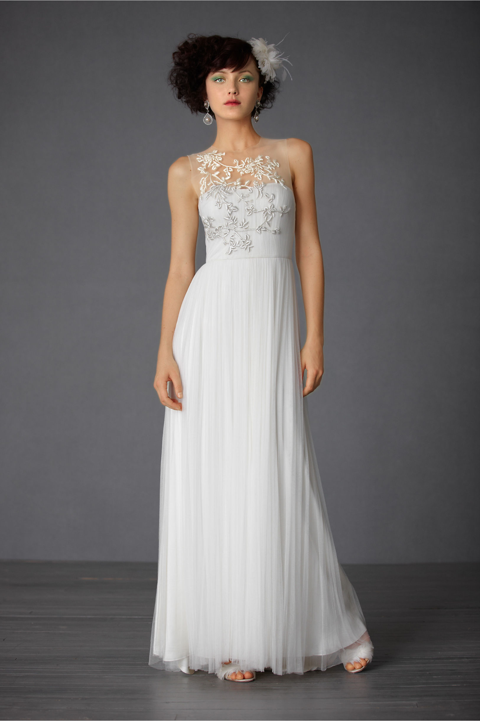 BHLDN Wedding Dress with Illusion Neckline