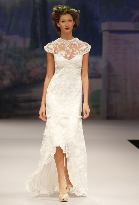 CLAIRE PETTIBONE Marcelle Wedding Dress with Illusion Neckline