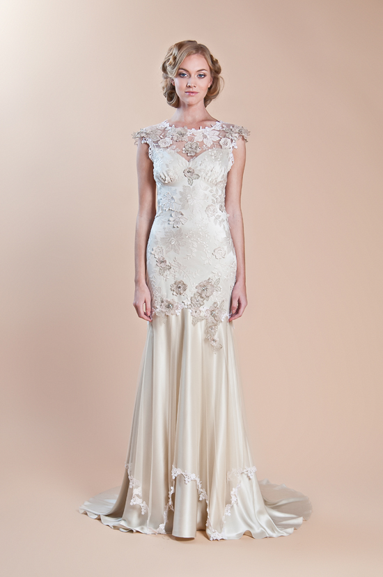 Claire Pettibone Spring 2013 Bridal dress with Illusion Neckline