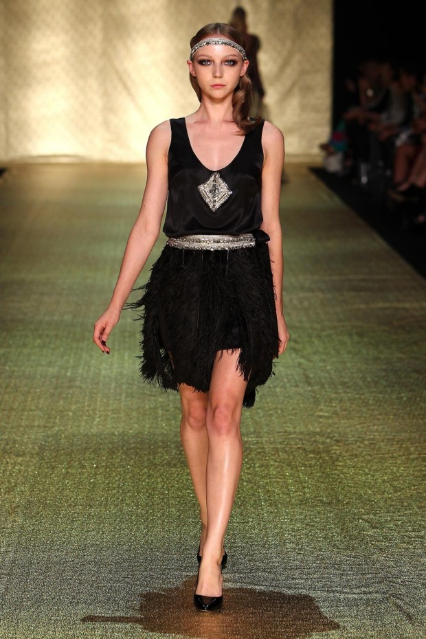 Johanna Johnson Luxor Collection at MBFWA Short Black Feather Skirt Gown