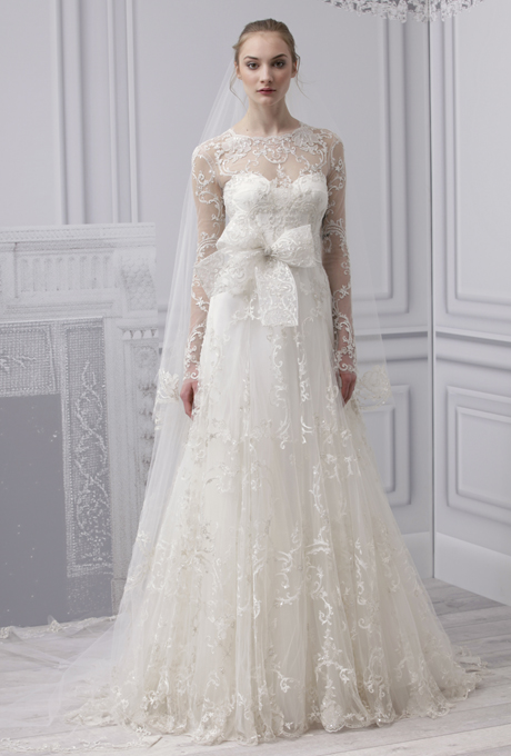 MONIQUE LHUILLIER Spring 13 Wedding Dress with Illusion Neckline