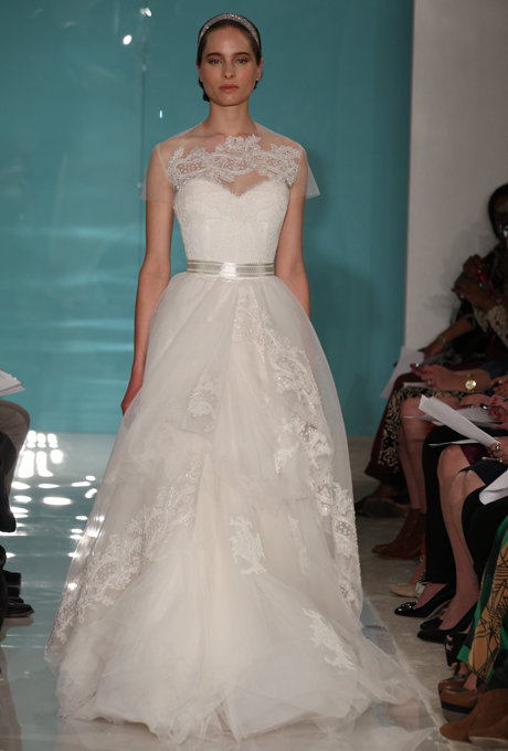 Reem Acra 2013 Wedding Dress with Illusion Neckline