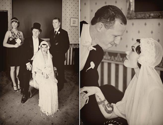 1920s inspired bride in Juliet Cap Veil