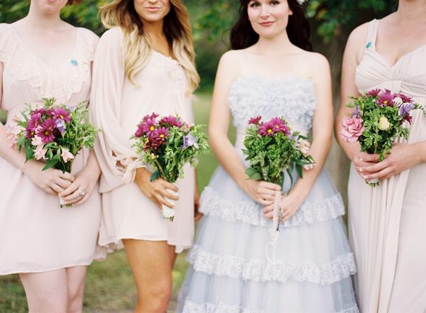 Australian Bride in a  Blue Wedding Dress