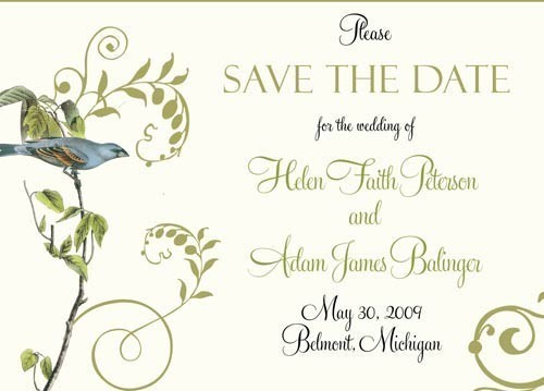 Birds Wedding Save The Dates