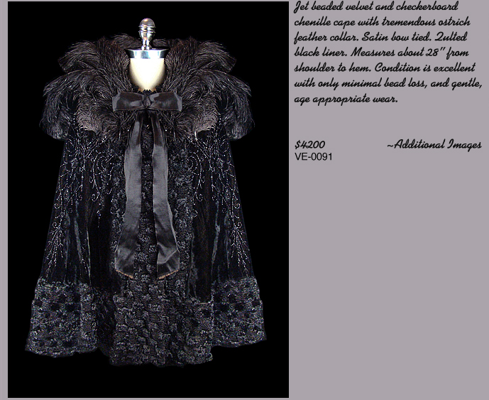 Edwardian Black Feather Collared Cape
