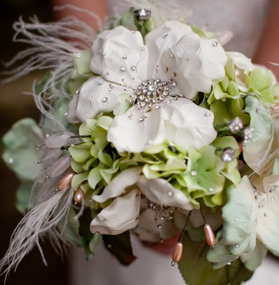 Dusky Pink Jeweled Bouquet