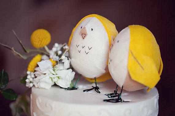 Felt  Bird Cake Toppers from Etsy