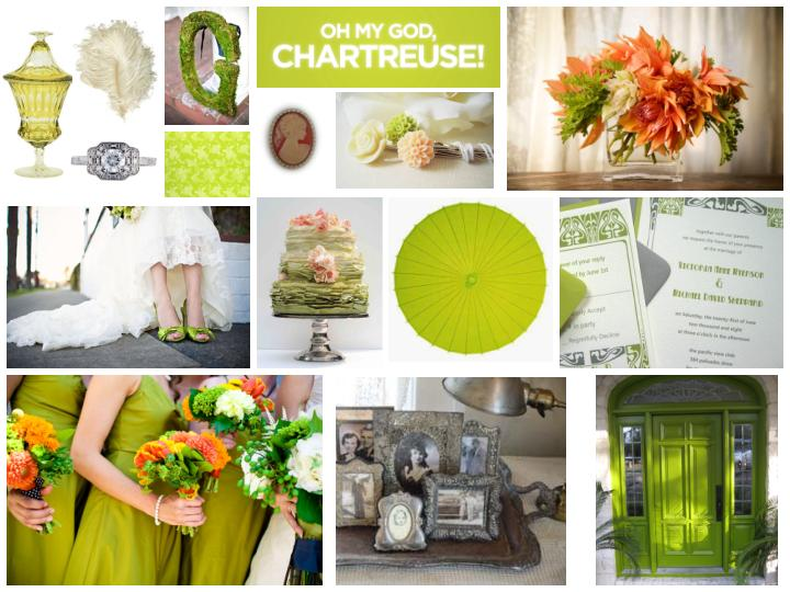 Wedding Inspiration Board - Chartreuse & Grey (Atonement)