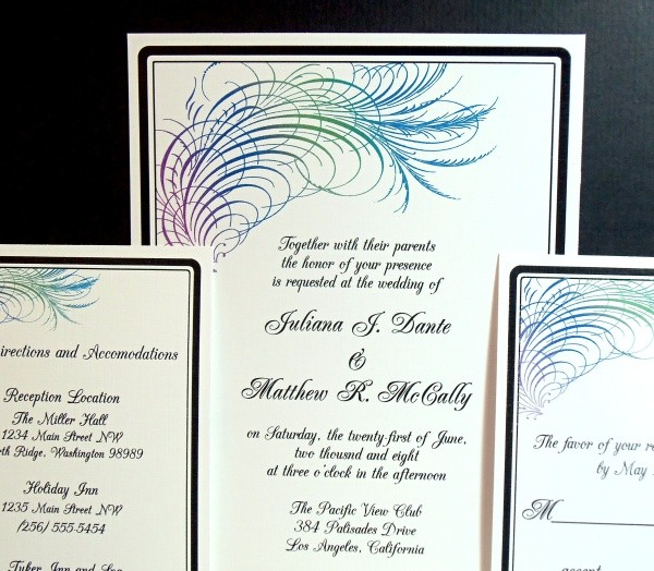 Print Your Own Peacock Calligraphy Wedding Stationery