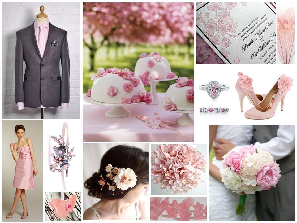 Spring Blossom Pink Wedding Inspiration Board