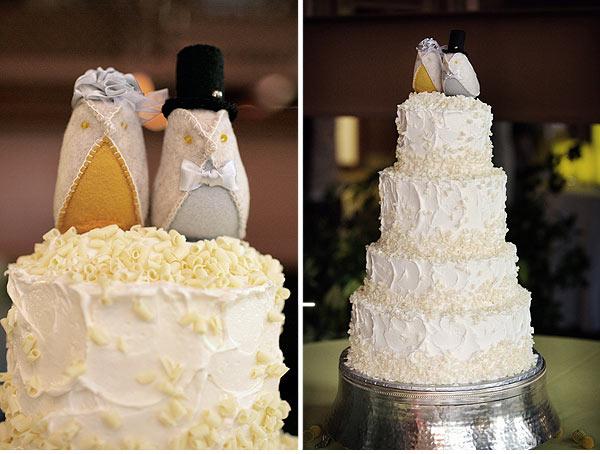 Peach Grey Wedding Cake Toppers
