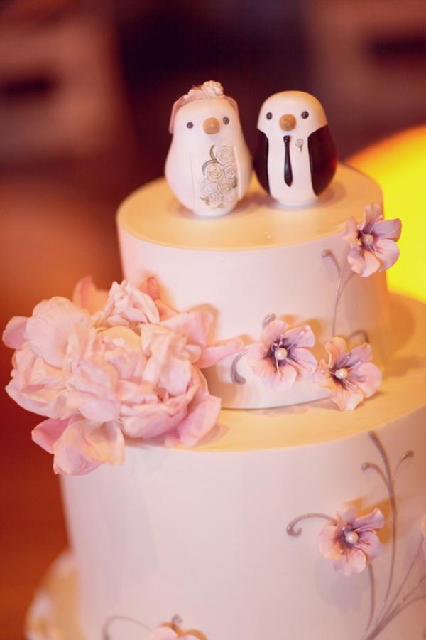 Raspberry Pink Bird Cake Toppers (Ruffled)
