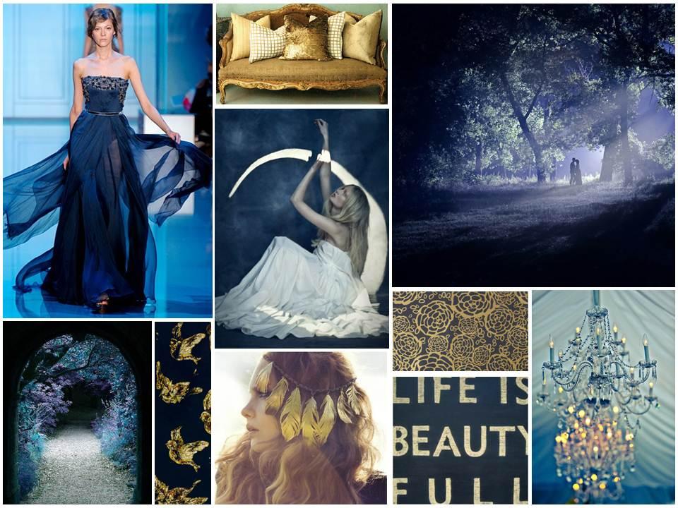 Midnight Blue & Gold Inspiration Board