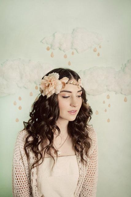 Mignonne Handmade Golden Flowers and Vines Bridal Headdress