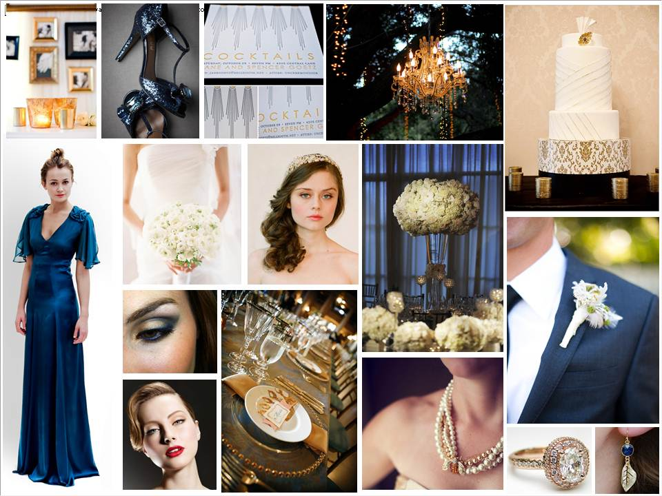Midnight Blue and Gold Inspiration Board