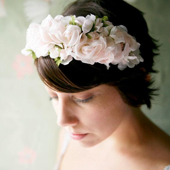 Pink Flower Bridal Crown - Which Goose Dauphine