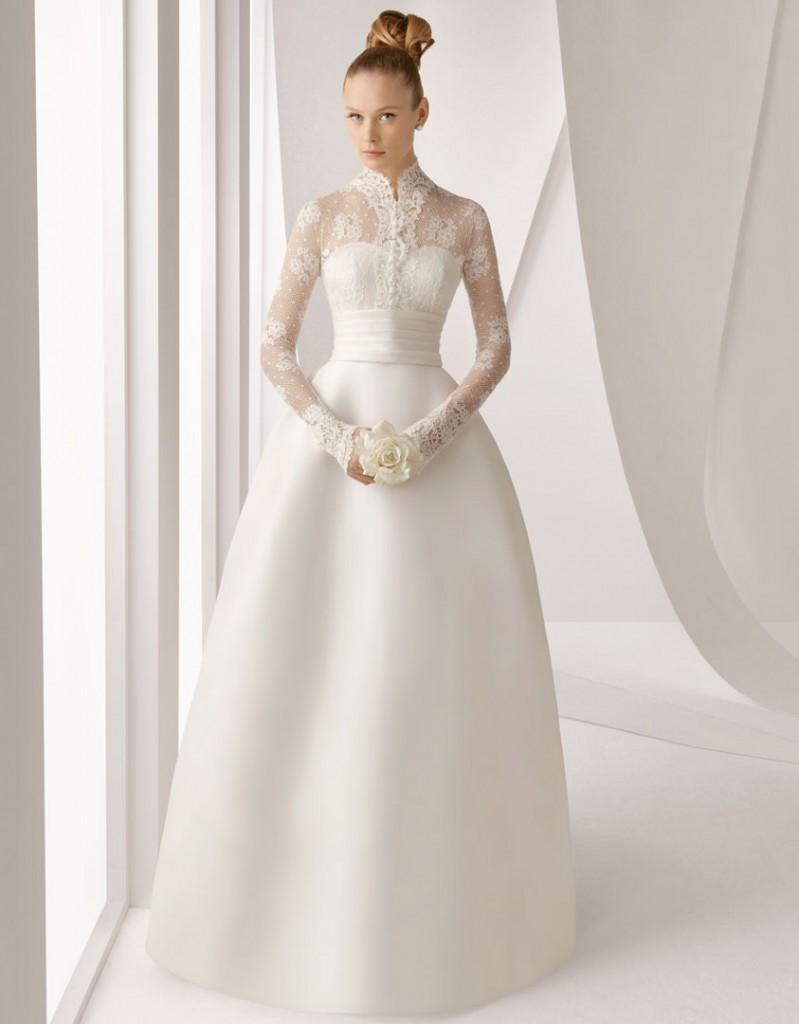 Grace Kelly inspired long sleeve wedding dress - Rosa Clara 211 Adorno