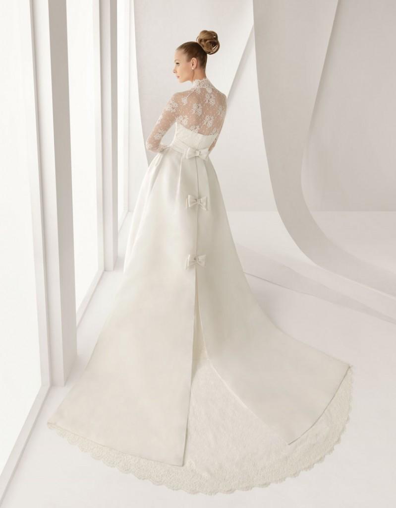 Grace Kelly inspired long sleeve wedding dress - Rosa Clara 211 Adorno Back