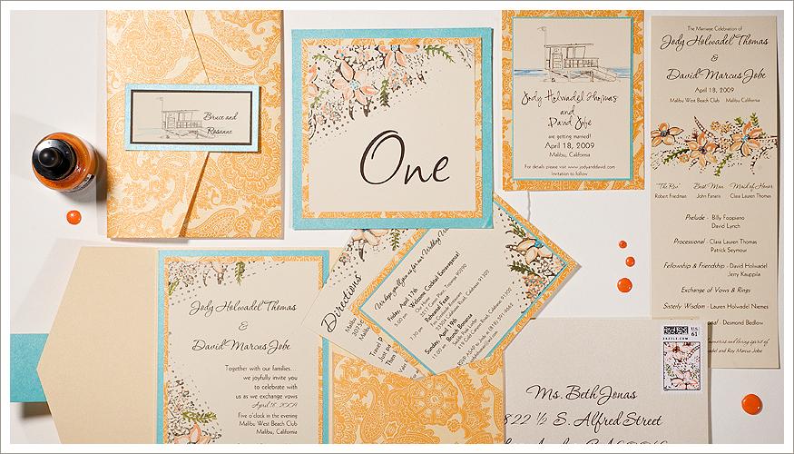 Orange Floral Wedding Stationery by Momental Designs - Vintage Pattern Petals