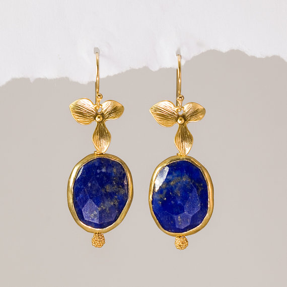 Blue Lapis & Orchid Flower Gold Earrings