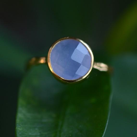 Delezhen Blue Chalcedony Ring