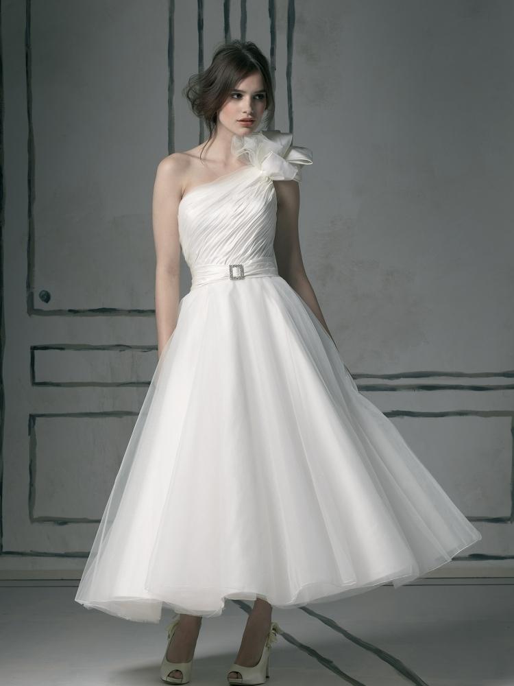 Justin Alexander Tea Length One Shouldered Wedding Dress Design 8527 ...