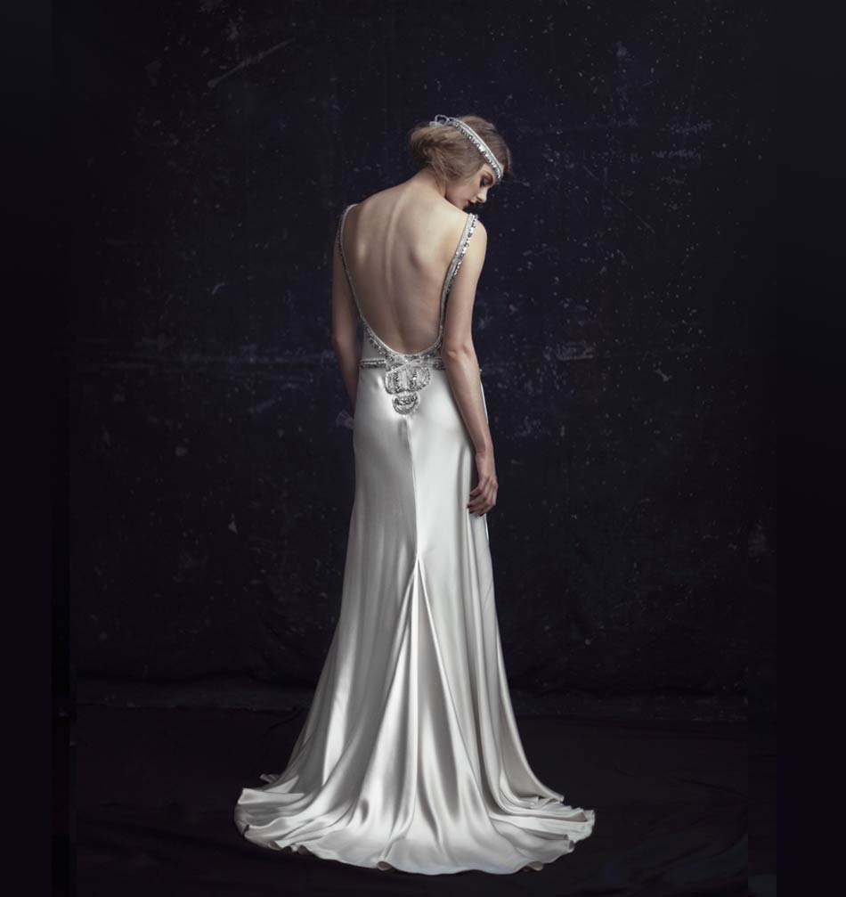Johanna Johnson 1920s inspired Bridal Dress The Odetta - Back