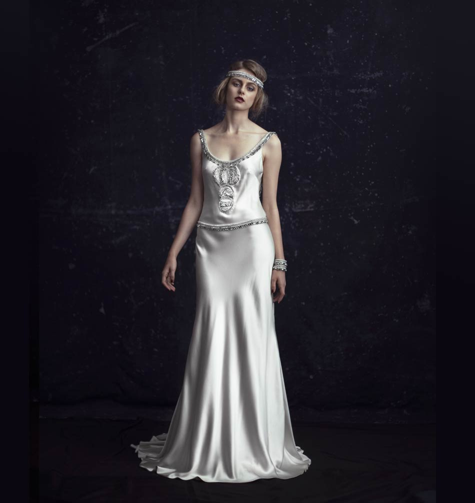 Johanna Johnson 1920s inspired Bridal Dress The Odetta - Front