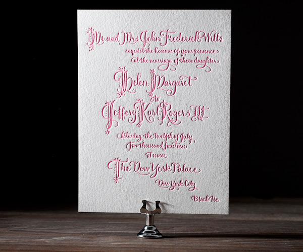 Royal Calligraphy Letterpress Wedding Stationery from Bella Figura