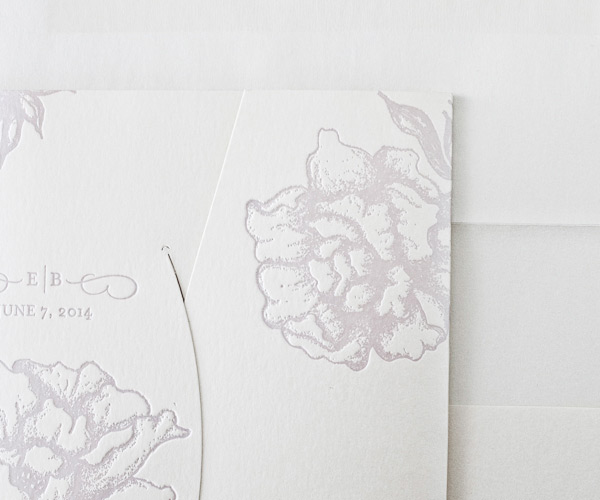 Royal Peony Letterpress Wedding Stationery from Bella Figura