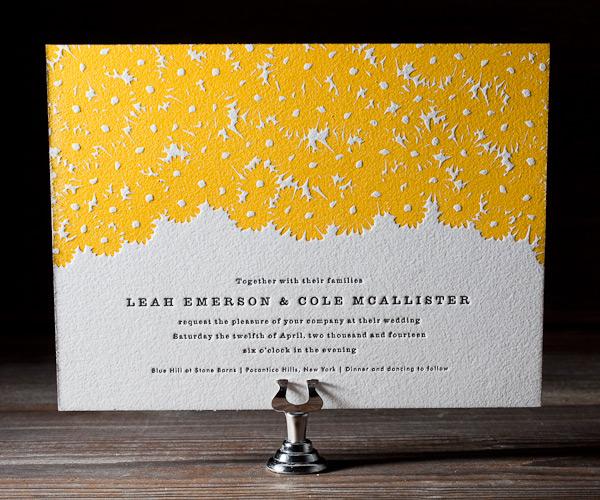 Sweet Daisy Letterpress Wedding Stationery from Bella Figura