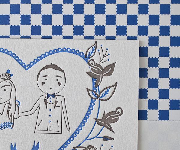 Fully customisable Sweet Heart Letterpress Wedding Stationery from Bella Figura