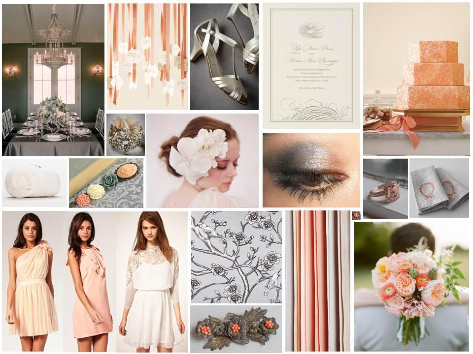 Dove Grey & Peach Vintage Wedding Inspiration Board