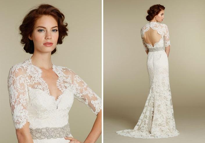 Jim Hjelm 2012 Long Sleeved Lace Wedding Dress 8211