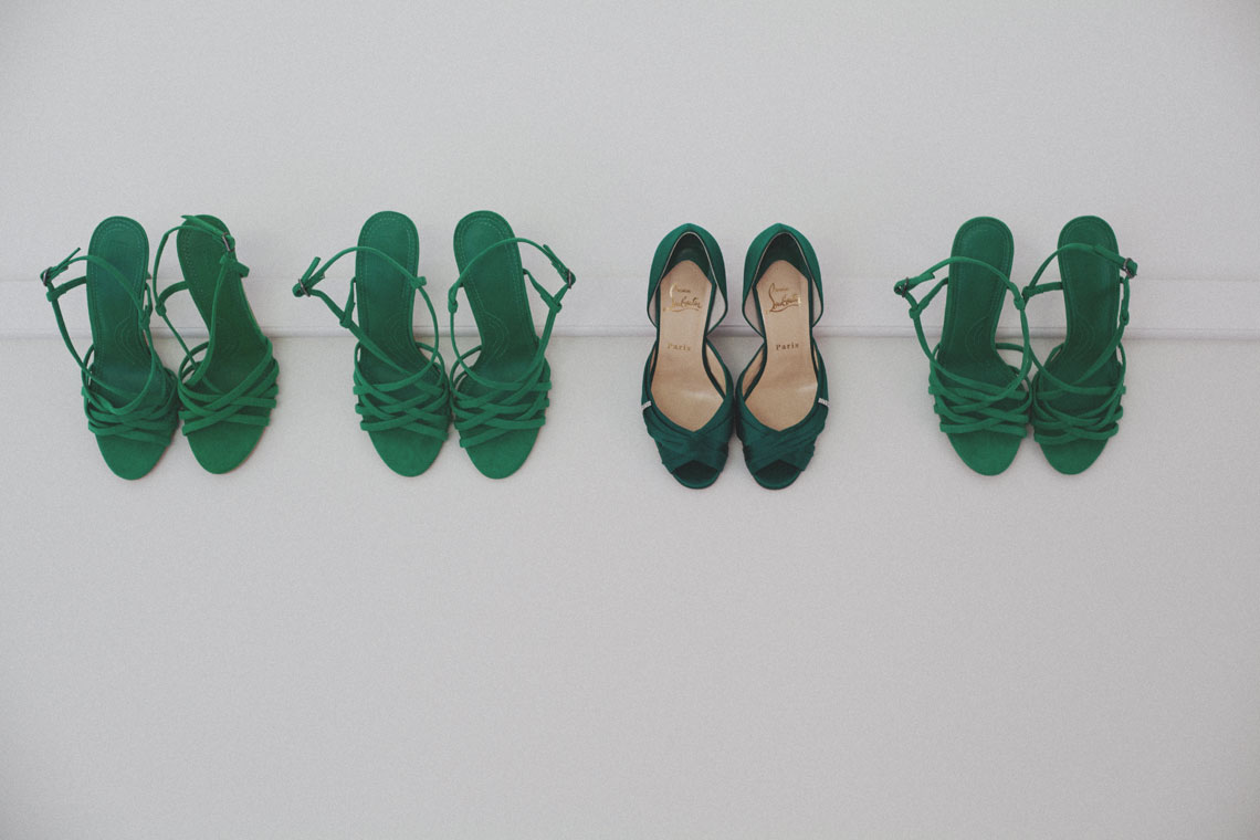 Ryan & Alex Copacabana NSW Australia, Green Bridal & Bridesmaids Shoes