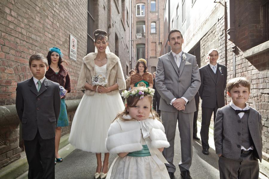 Australian retro wedding marina & andy wedding party