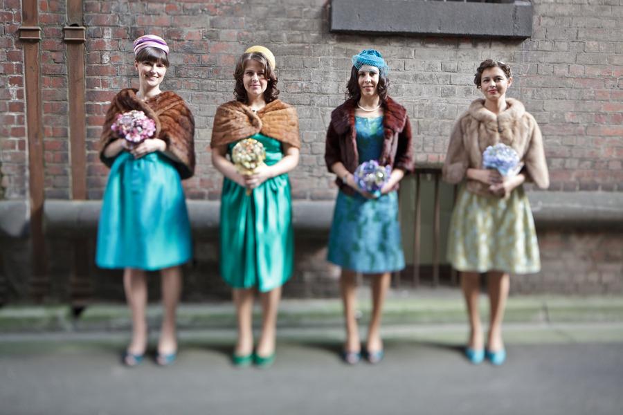 Australian retro wedding marina & andy retro bridesmaids