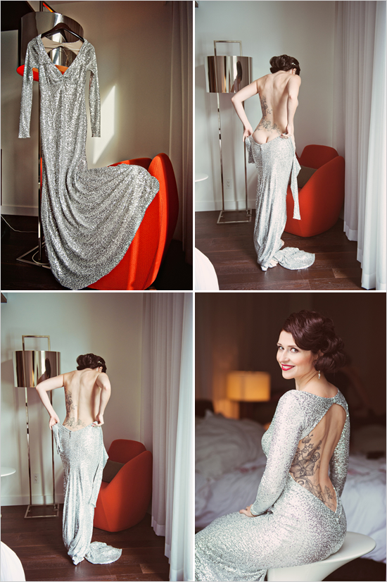 Sparkly Silver Wedding Dress
