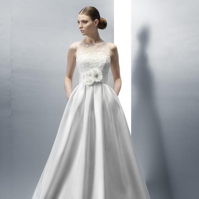 Jesus Peiro Wedding Dress 2033 with illusion neckline and flower decorated waist