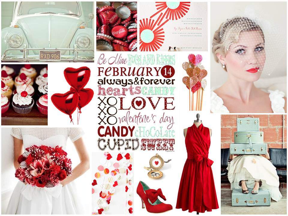 Love is Sweet Valentines Funky Retro Wedding Inspiration Board