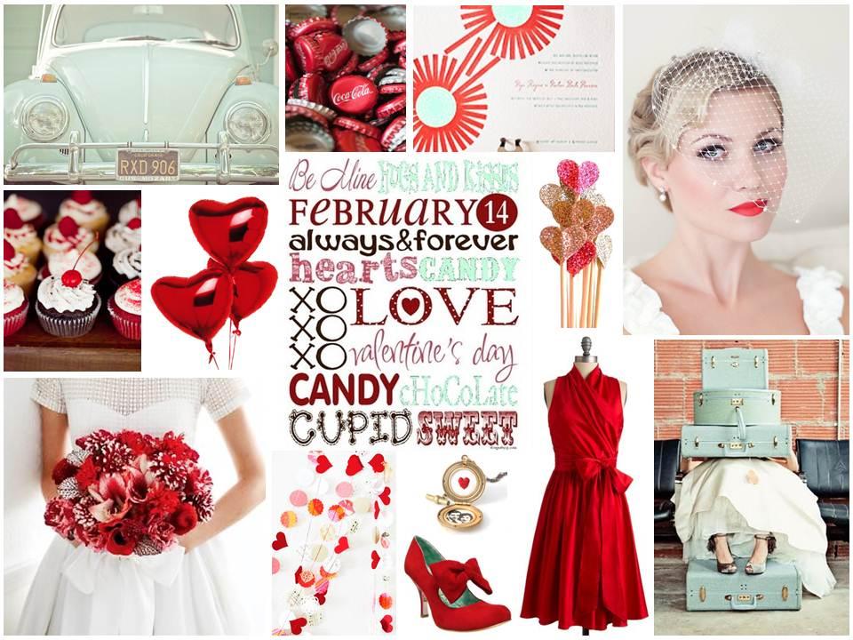 Love is Sweet - Valentines Funky Retro Wedding Inspiration Board