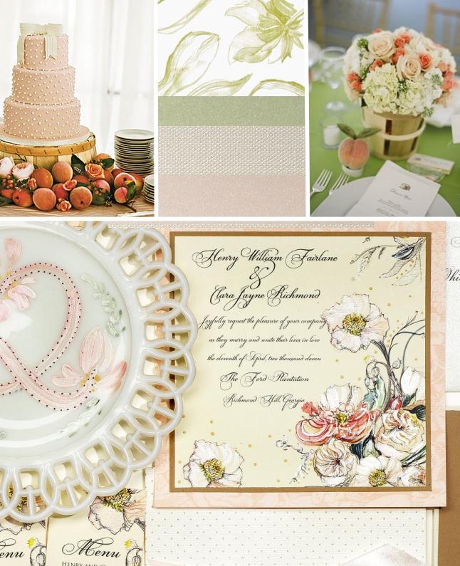 Momental Designs Peach, Green & Ivory Inspiration Board