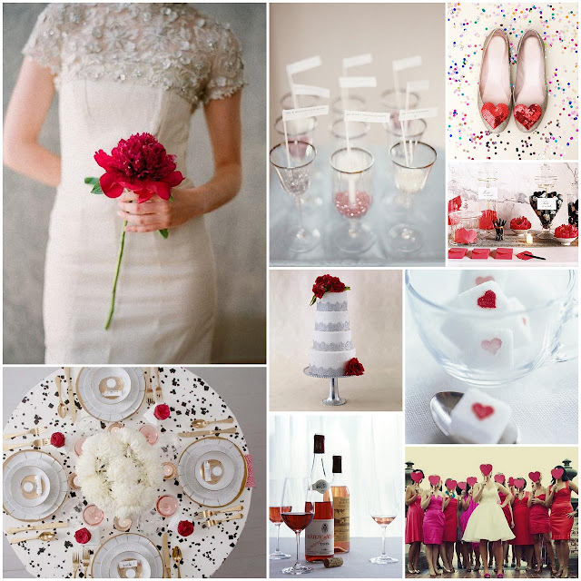 Valentine's Day Wedding Inspiration Board (Red, Pink, Glitter & Black)