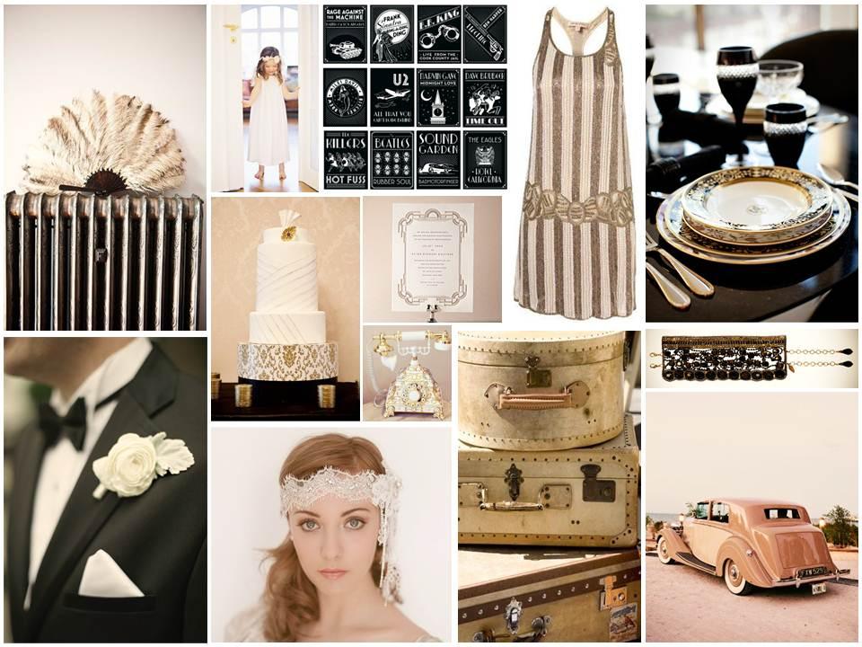Art Deco Gold, Black & Ivory Wedding Inspiration Board