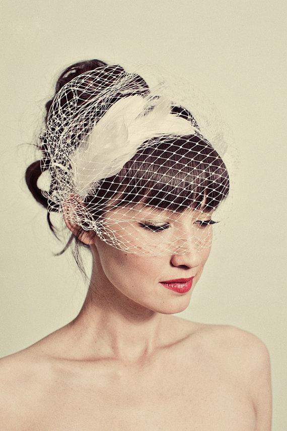 Mignonne Handmae Feather Headband & Birdcage Veil