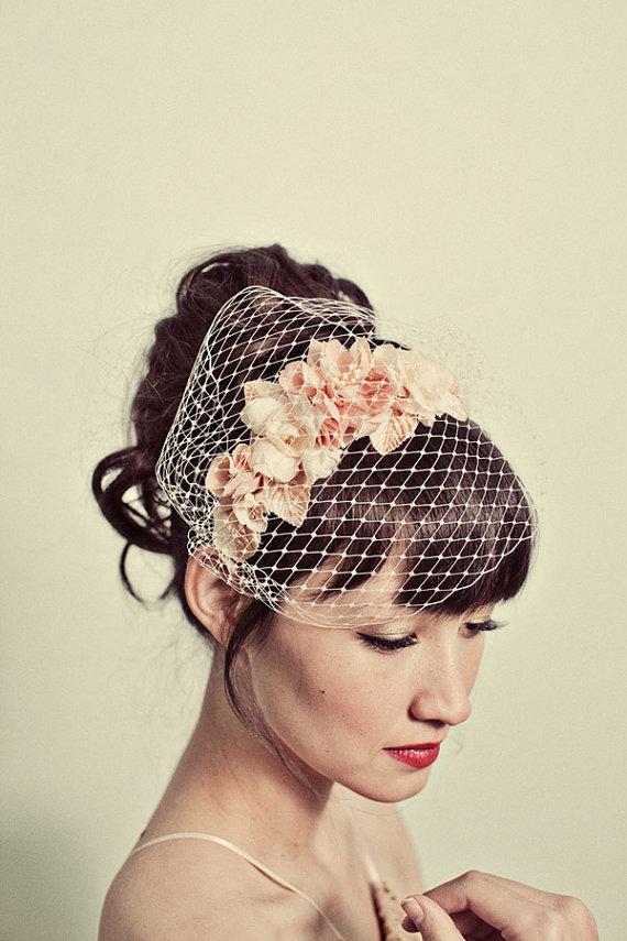 Mignonne Handmade Flower Headband & Birdcage Veil