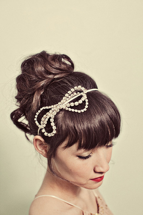 Mignonne Handmade Rhinestone Bow Headband