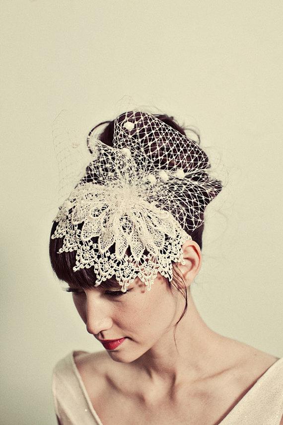 Mignonne Handmade Venetian Lace Headpiece