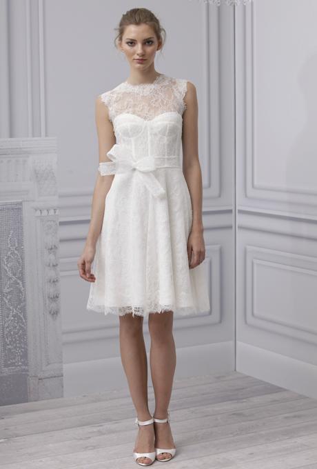 MONIQUE LHUILLIER SS13 Bridal Collection Short Wedding Dress